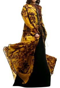 yellow-cotton-silk-front-open-tie-up-cape