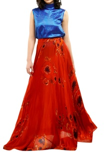 red-cotton-silk-printed-maxi-skirt