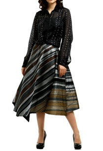 multicolored-metallic-stripe-flared-midi-skirt