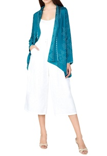 turquoise-silk-bandhani-shrug