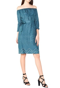 sage-silk-bandhani-off-shoulder-dress