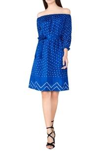blue-silk-bandhani-off-shoulder-dress