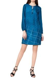 turquoise-silk-bandhani-shift-dress