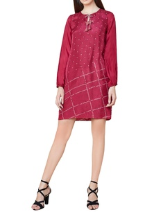 plum-silk-bandhani-shift-dress