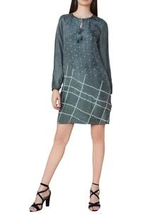 grey-silk-bandhani-shift-dress