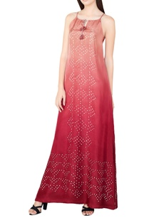 plum-silk-bandhani-maxi-dress