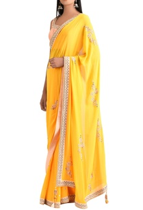 sunrise-orange-georgette-sari-with-blouse