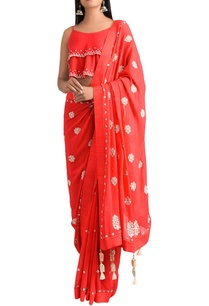 red-georgette-sari-with-dupion-silk-cami-blouse
