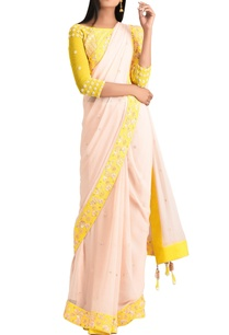 yellow-chiffon-beaded-sari-with-lycra-satin-blouse