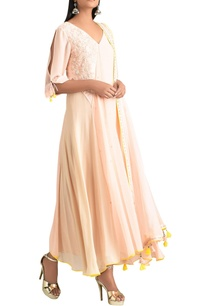 pearl-pink-georgette-kurta-with-pants-net-dupatta