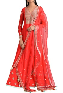red-hand-embroidered-anarkali-set