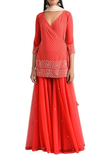 red-wrap-kurta-with-gharara-pants-net-dupatta