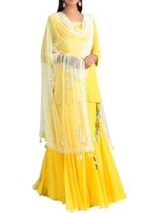 lemon-yellow-georgette-kurta-with-sharara-pants-dupatta