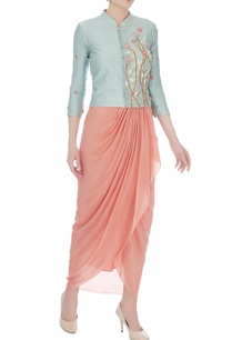 baby-blue-baby-pink-chanderi-silk-crepe-crop-jacket-with-skirt