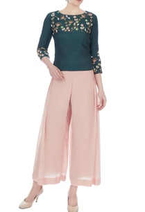 blush-pink-green-thai-silk-crepe-crop-top-with-pleated-pants