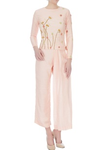 peach-thai-silk-embroidered-blouse-with-pleated-pants