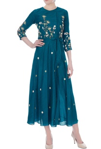 teal-blue-thai-silk-embroidered-wrap-dress