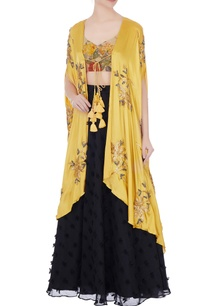 black-mustard-yellow-blouse-with-phumban-skirt-embroidered-cape