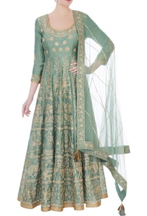 moss-green-chanderi-handloom-ari-embroidery-anarkali-with-dupatta