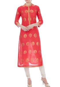 peach-chanderi-handloom-embroidered-kurta