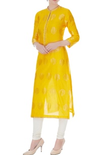 yellow-chanderi-handloom-woven-jacobean-kurta