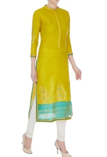 lime-green-aqua-blue-chanderi-handloom-woven-meena-work-kurta