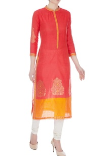 peach-orange-chanderi-handloom-woven-meena-work-kurta