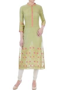 asparagus-fuschia-chanderi-handloom-woven-mughal-jaal-work-kurta
