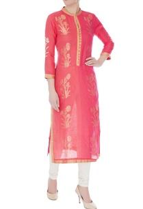 peach-chanderi-handloom-woven-mughal-buta-work-kurta
