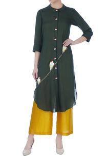 olive-green-linen-silk-kurta