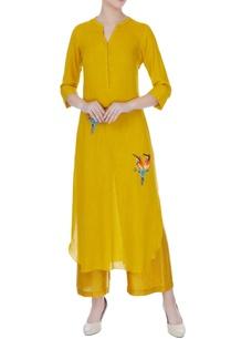 mustard-yellow-hand-embroidered-kurta