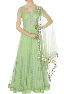 light-green-net-layer-anarkali-gown-with-silver-gota-dupatta