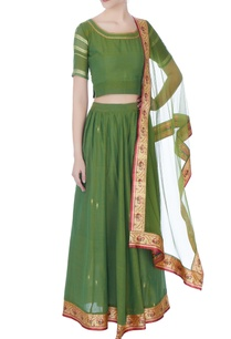 green-brocade-cotton-lehenga-set