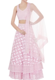 powder-pink-net-zircon-work-double-layered-lehenga-with-blouse-dupatta