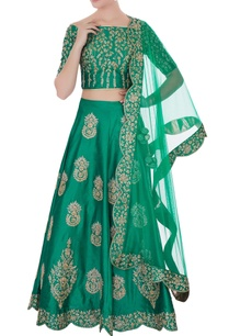 emerald-green-raw-silk-zari-zircon-lehenga-with-blouse-dupatta