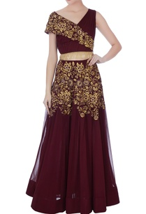 deep-wine-georgette-thread-embroidery-lehenga-with-ruched-blouse
