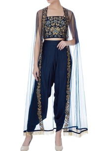 navy-blue-net-thread-embroidery-dhoti-pants-with-bustier-cape