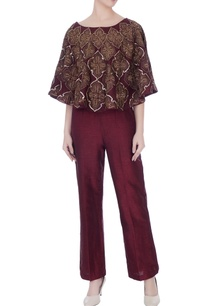 deep-wine-raw-silk-high-waist-pants-with-cape