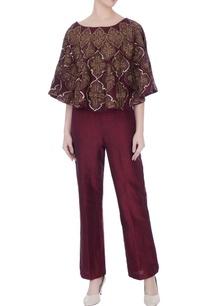 deep-wine-raw-silk-high-waist-pants-with-cape