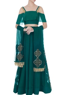 dark-sea-green-georgette-thread-embroidery-lehenga-with-blouse-dupatta