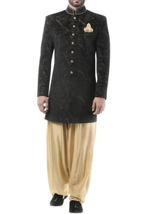 black-velvet-zari-work-achkan-with-golden-dhoti-pants