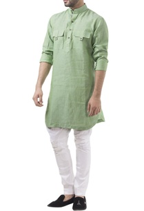 green-linen-solid-kurta-with-jodhpuri-pants