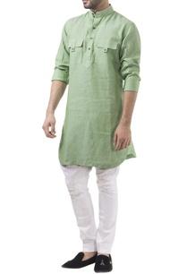 green-linen-solid-kurta