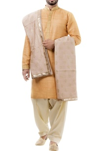 orange-silk-thread-work-kurta-with-salwar-and-dupatta
