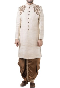 beige-silk-embroidered-sherwani-with-rust-dhoti-pants