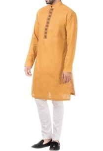 yellow-linen-thread-work-kurta-with-pants