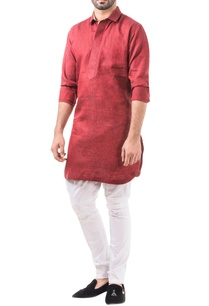 maroon-linen-solid-classic-kurta-with-pants