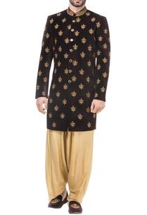 maroon-velvet-zari-work-achkan-with-salwar