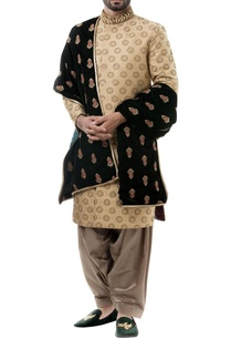 golden-silk-zari-work-sherwani-with-salwar-and-dupatta