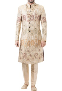 beige-brocade-zari-work-sherwani-with-trousers